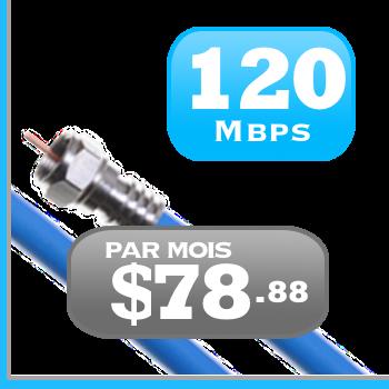 forfait Internet illimiteé par câble 120 Mbit/s