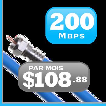 forfait Internet illimiteé par câble 200 Mbit/s