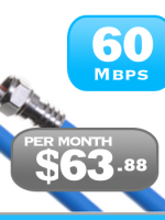 Quebec 60Mbps Unlimited Cable Internet plan in Montreal, Laval, Gatineau, Quebec city, Sherbrooke and Trois Riviere.